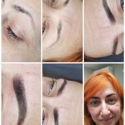 Brwi makijaż permanentny efekt chwilę po zabiegu
