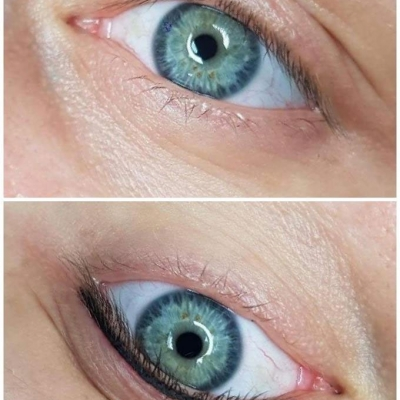 Makijaż permanentny kreski efekt przed i po