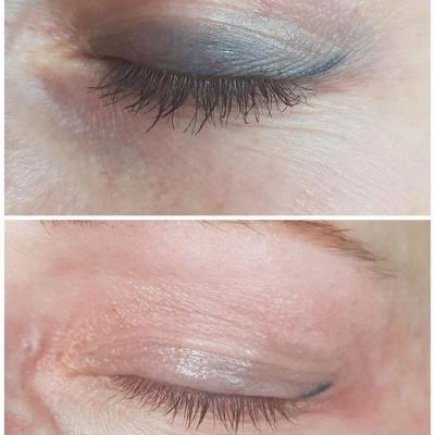 Usuwanie makijażu permanentnego powiek kreski efekt